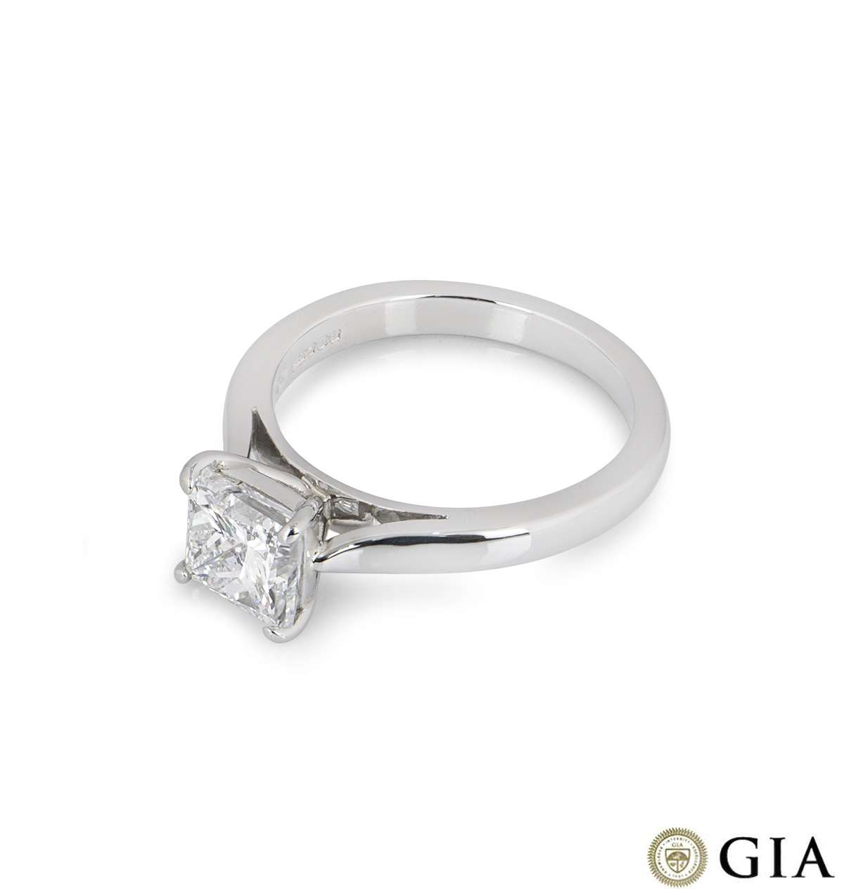 Platinum Princess Cut Diamond Ring 1.51ct F/VS2